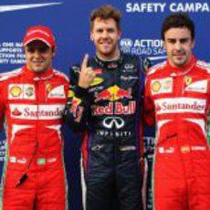 Sebastian Vettel, Felipe Massa y Fernando Alonso tras la clasificación en Malasia