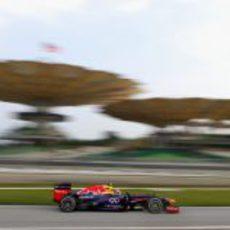 Mark Webber afronta una de las reviradas curvas del circuito de Sepang