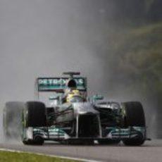 Nico Rosberg en la lluvia de la Q3 de Malasia
