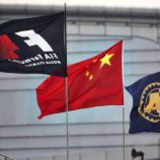 Las banderas ondean en China