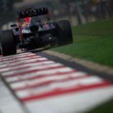 Sebastian Vettel en la recta de meta