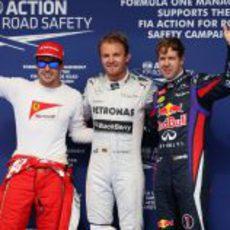 Fernando Alonso, Nico Rosberg y Sebastian Vettel en Baréin