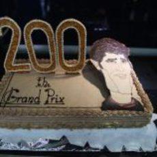 La tarta de celebración del 200º Gran Premio de Mark Webber