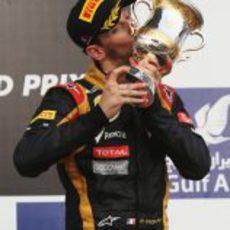 Romain Grosjean, muy contento con su tercer puesto en Baréin