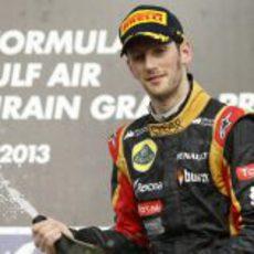 Romain Grosjean celebra su primer podio de la temporada