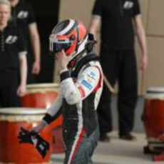 Nico Hülkenberg acaba agotado tras su casco el GP de Baréin 2013