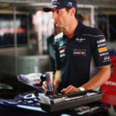 Mark Webber se toma un Red Bull antes de ponerse a los mandos de su RB9