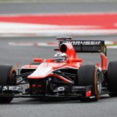 Jules Bianchi trata de sacar el máximo partido a su MR02 en el Circuit de Catalunya