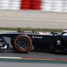 Valtteri Bottas prueba el compuesto duro en Barcelona