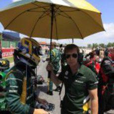 Charles Pic se prepara para el GP de España 2013