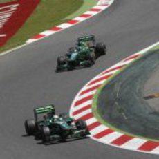 Los dos Caterham completan el GP de España 2013