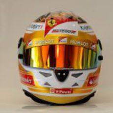 Plano frontal del casco de Fernando Alonso para Mónaco