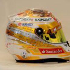 Plano lateral del casco de Fernando Alonso para Mónaco