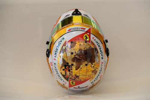Plano cenital del casco de Fernando Alonso para Mónaco