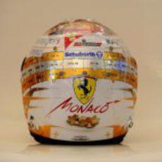 Plano trasero del casco de Fernando Alonso para Mónaco