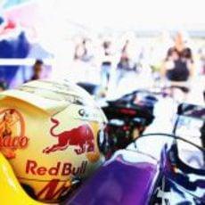 Sebastian Vettel espera en el box