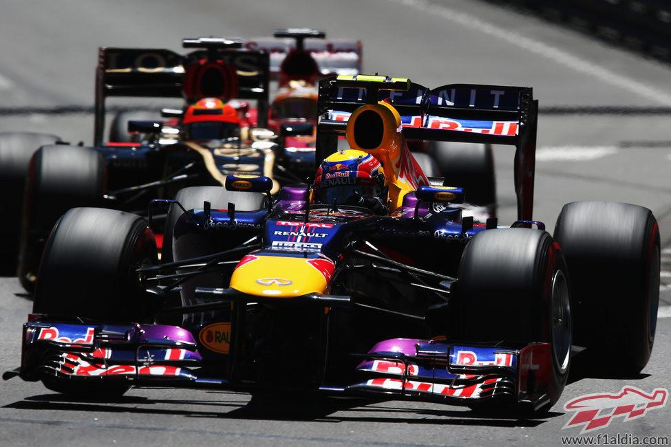 Mark Webber exprime su Red Bull durante el GP de Mónaco 2013