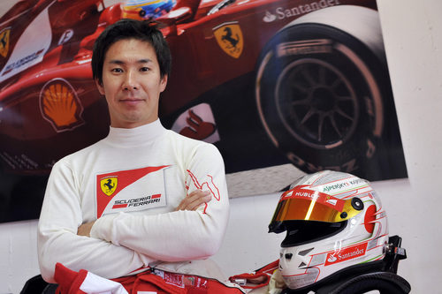 Kamui Kobayashi, sonriente de Ferrari