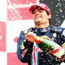 Webber celebra su tercer puesto