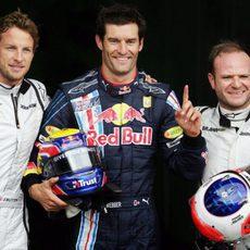 Webber, Barrichello y Button