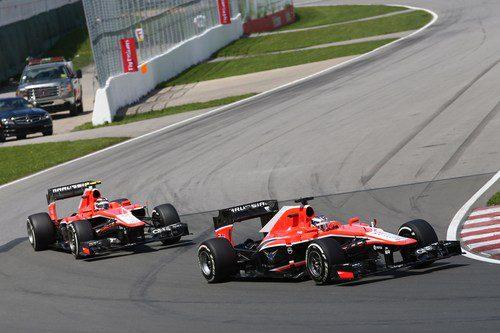 Los dos Marussia en plena acción en Montreal
