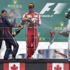 Hamilton, Alonso y Vettel en el podio de Canadá