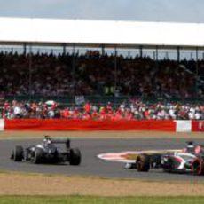 Los dos Sauber durante la carrera de Silverstone