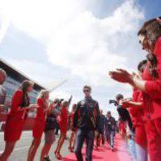 Romain Grosjean en los instantes previos a la carrera del GP de Gran Bretaña