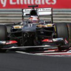 Nico Hülkenberg a toda velocidad por la 'chicane' de Hungaroring