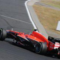 Max Chilton rueda con el compuesto medio durante el GP de Hungría 2013