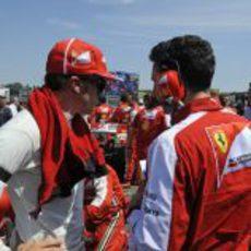 Fernando Alonso habla con Andrea Stella antes de la carrera