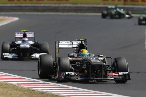 Esteban Gutiérrez aventaja a Valtteri Bottas en Hungría