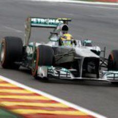 Lewis Hamilton, en la recta de Spa