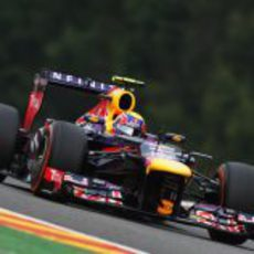 Mark Webber rodando en Spa