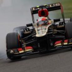 Romain Grosjean se pasa de frenada en Spa