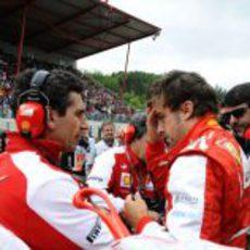 Andrea Stella prepara la carrera junto a Alonso