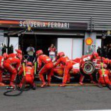 Cambio de gomas para Felipe Massa en boxes