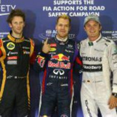 Nico Rosberg, Sebastian Vettel y Romain Grosjean tras la clasificación