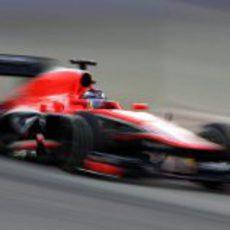 Jules Bianchi a toda velocidad con un juego de neumáticos superblandos