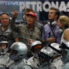 David Beckham junto a Niki Lauda