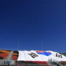 Bandera coreana en la grada