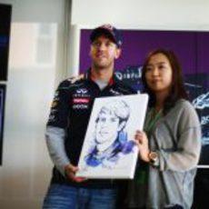 Sebastian Vettel recibe su caricatura