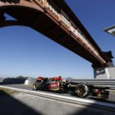 Romain Grosjean en la entrada al pit-lane de Yeongam