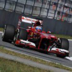Fernando Alonso en el carril de boxes