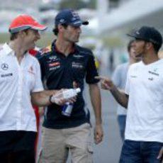Lewis Hamilton, Mark Webber y Jenson Button en Suzuka