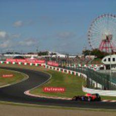 Mark Webber en las 'eses' de Suzuka durante la clasificación