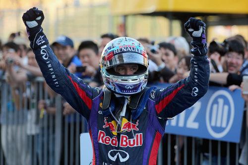 Alegría de Sebastian Vettel en Suzuka