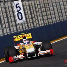 Grosjean durante la clasificación