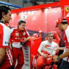 Fernando Alonso, Marc Gené y Pedro de la Rosa en Ferrari