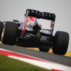 Gran vista trasera del RB9 de Mark Webber tomando una curva del Buddh International Circuit